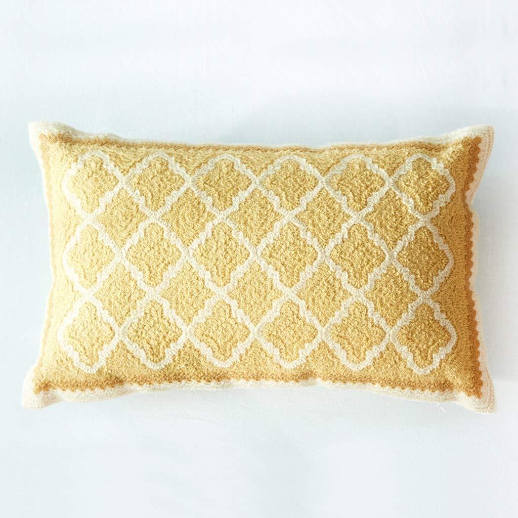ZDNALS Diamond Pattern Pillow/Retro Decorative Lumbar Pillow/Cotton Canvas Sofa by 50cm × 30cm Pillow (Color : A) by ZDNALS