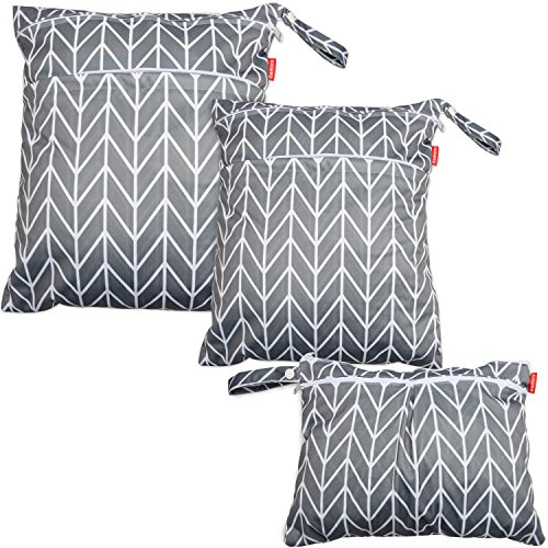 Damero 3pcs Travel Wet and Dry Bag with Handle for Cloth Diaper, Pumping Parts, Clothes, Swimsuit and More, Easy to Grab and Go, Gray Arrows ()