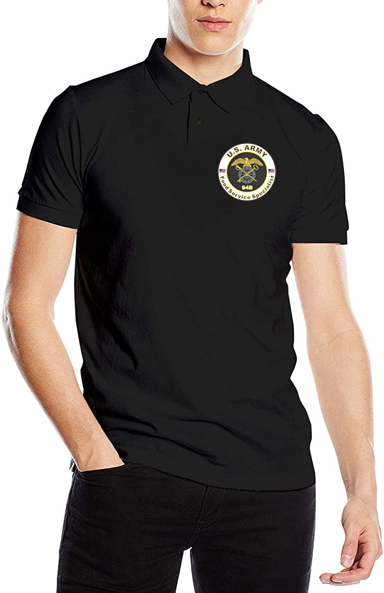 Army MOS 94B Food Service Specialist Mens Polo Shirts Adults Fashion Short Sleeve Golf Shirts