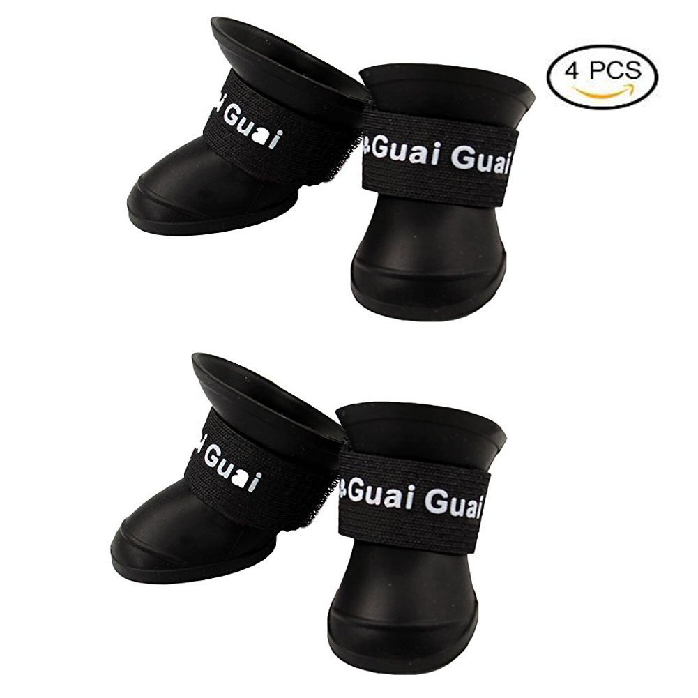 2018 NEW Cute Little Pet Dog Puppy Rain Snow Boots Shoes Booties Candy Colors Rubber Waterproof Anti-slip (L(Weight:15~25lb), Black)