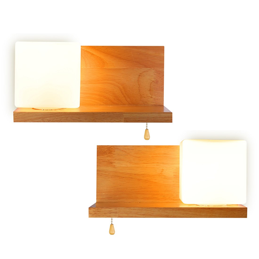 Wood Wall Lamps,Antique Wall Led Lights,Imflint Crude Wood Wall Sconces,Glass Shade,Right & Left