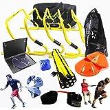 Kit d'entraînement de vitesse, d'agilité et de rapidité pour équipe de football avec DVD d'instructions en anglais, sac de transport gratuit, haies, échelle de vitesse, résistance de puissance   Football, soccer, basket-ball, volley-ball, rugby, hockey