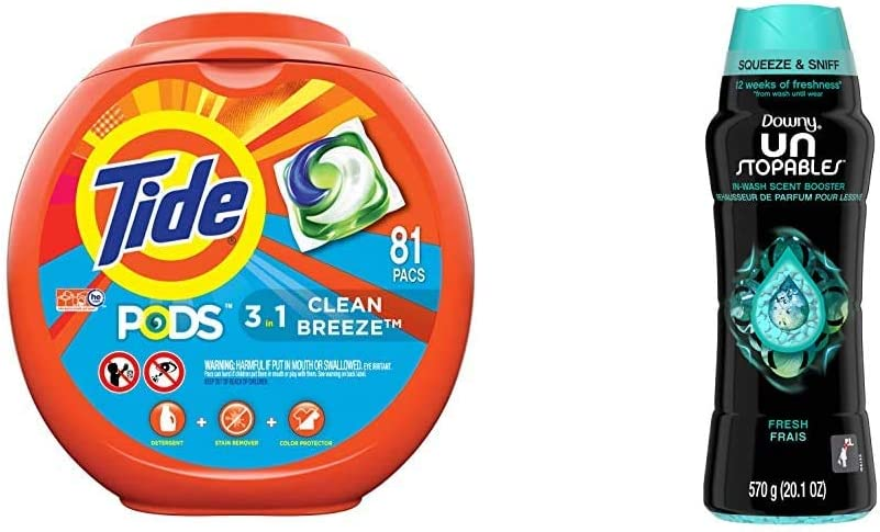 Tide PODS Laundry Detergent Liquid Pacs, Clean Breeze Scent, HE Compatible, 81 Count (Packaging May Vary) W/Downy Unstopables in-Wash Scent Booster Beads, Fresh, 20.1 Ounce (Pack of 1)