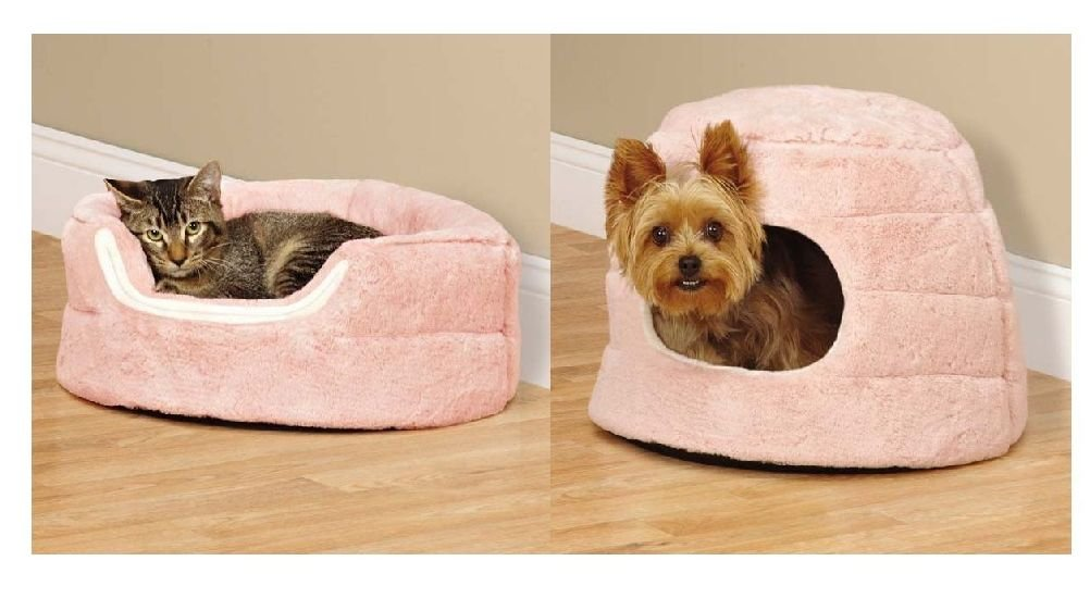 Small Pet Cuddler Beds For Dogs & Cats 2 In 1 Reversible Cozy Hideway Bolster