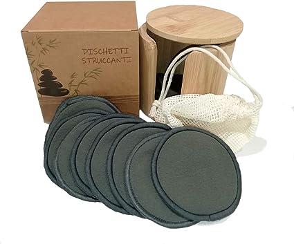 Discos desmaquilladores lavables, 16 discos de algodón de bambú negro reutilizables, estuche de bambú de regalo, bolsa para la lavadora, 100% ecológico, ecosostenible y biológico, sin residuos.: Amazon.es: Belleza