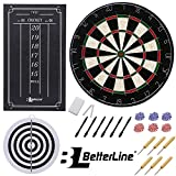 BETTERLINE Professional Bristle/Sisal Dart Board Set and Cricket Scoreboard Kit/45 cm (18 Inch) Diameter Wire-Spider Double-Sided Dartboard with Staple-Free Bullseye/6 Darts - by