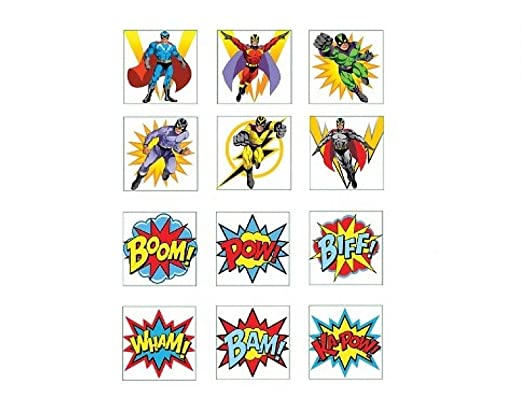 12 tatuajes temporales de superhéroes para bolsas de fiesta ...