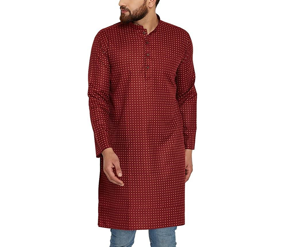 CRAFTSTRIBE Men's Cotton Linen Printed Long Kurta