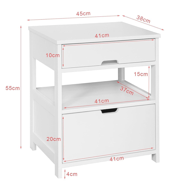 SoBuy/® Comodini letto tavolino da salotto o soggiorno con cassetto,bianco,FRG258-W,IT