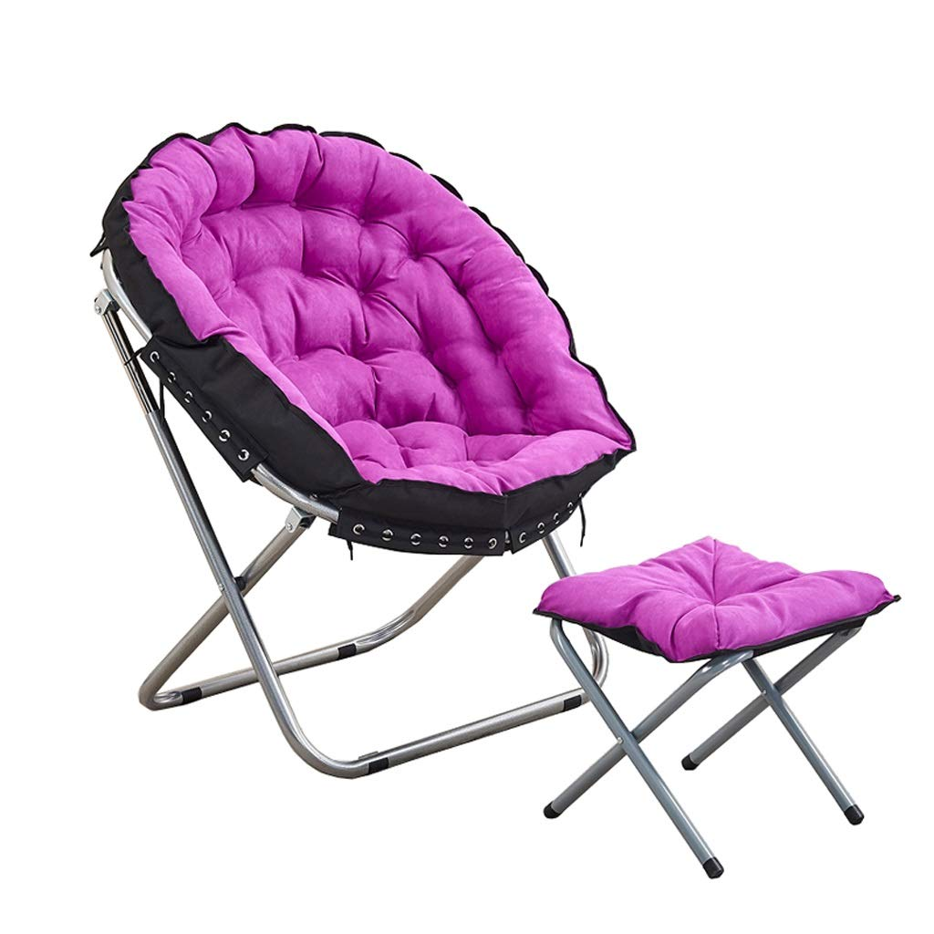 屋外リクライニングチェア折り畳み式デッキチェアムーンチェア丸型チェア背もたれ椅子事務用椅子サンラウンジャーパティオガーデンチェアレジャーソファ椅子 (色 : A) B07RL2TT7K A