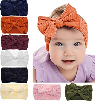 Kids Girls Baby Nylon Headband Toddler Turban Bow Knotted Hair Band Accessories