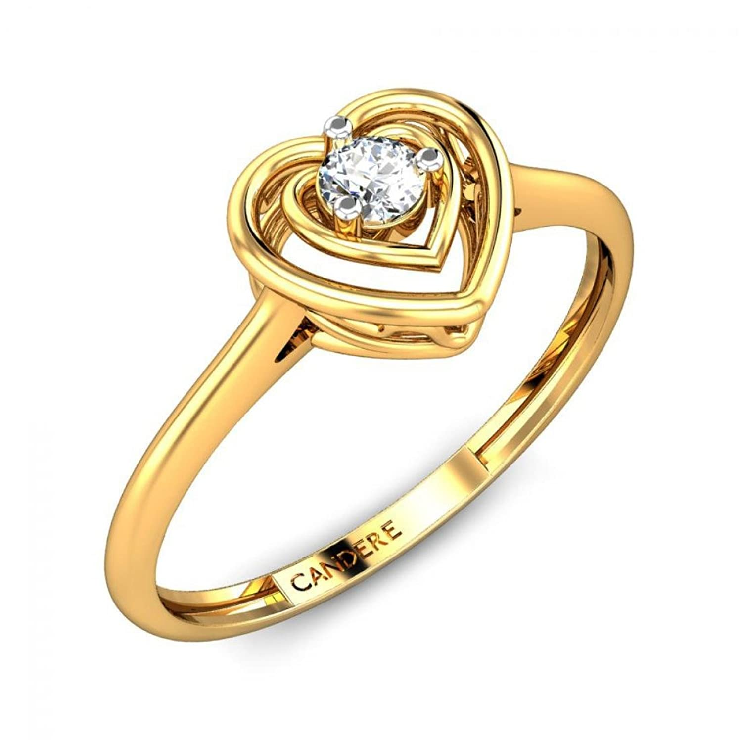 Buy Candere By Kalyan Jewellers 18KT Yellow Gold and Diamond Ring ...