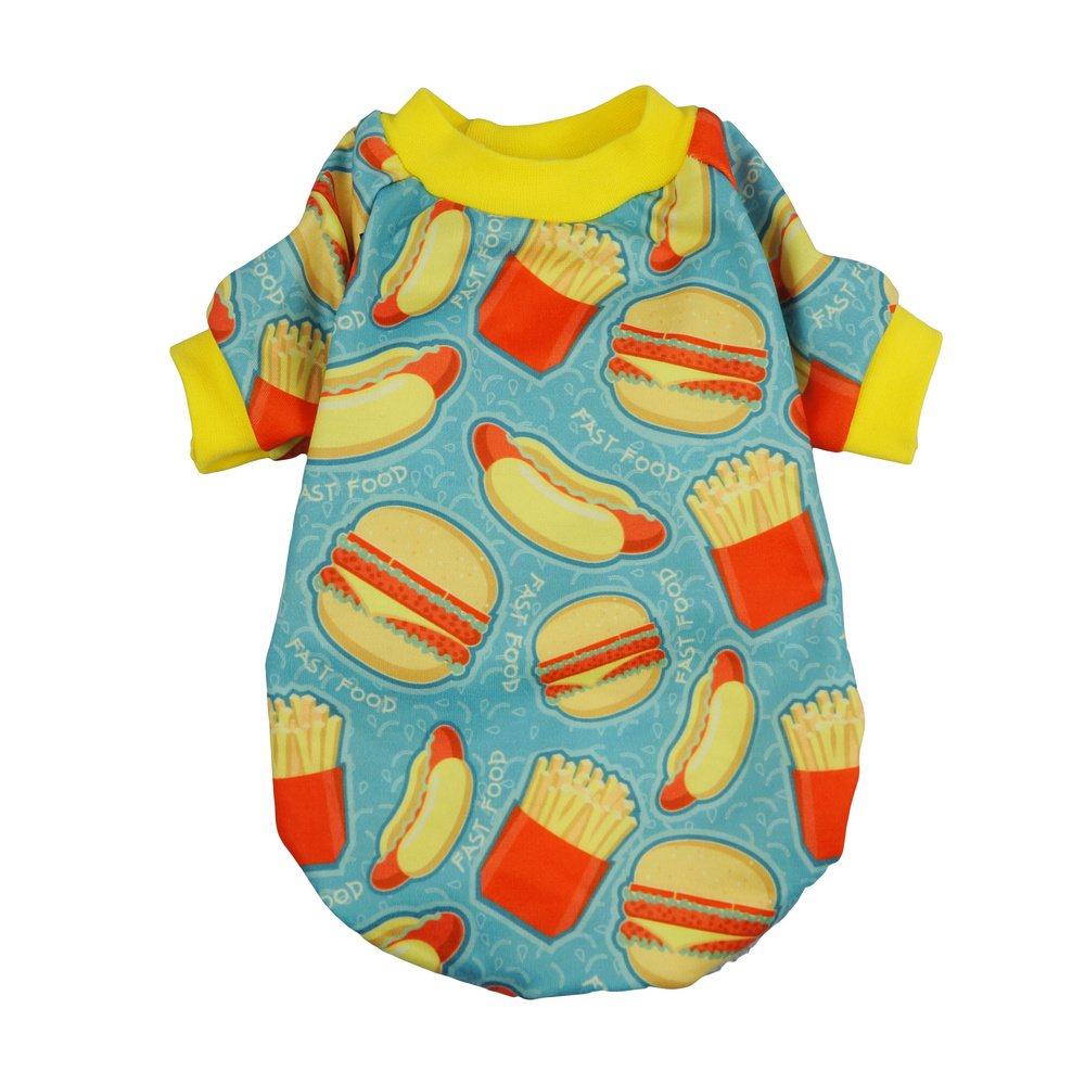 Fitwarm Hamburger Pet Clothes for Dog Shirts Cat Pullover T-shirts Blue Small