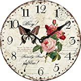 Buggy Round Decorative Wall Clock-Shabby Chic Floral Patchwork Clock - Vintage Wall Clocks for Living Room, Bedroom and Kitchen - Multi-Coloured Cute Retro Style Clock Wall 24inches 58cm