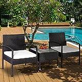 Leisure Zone 3 Piece Patio Furniture Sets Garden Set with Beige Cushion