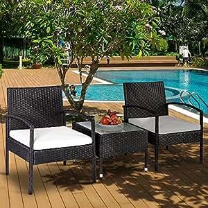 Ocio zona 3piezas rattab conjuntos de muebles de jardín al aire libre juego de jardín con cojín de color beige