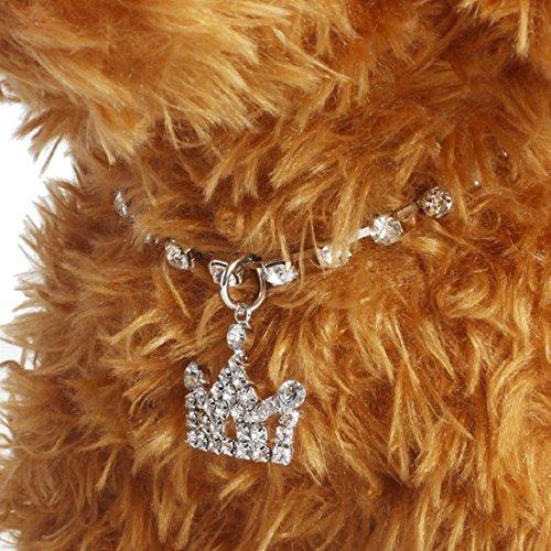 Susenstone®Diamante Crown Rhinestone Pendant Pet Necklace Collar Dog Jewelry (M, White) (Knit Diamante)