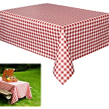 "Vinyl Party Tablecloths | Red and White Checkered Gingham Print | Disposable Table Covers - 70"" X 70"" -