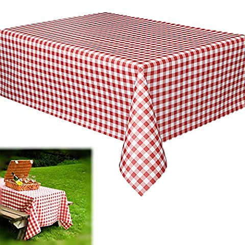 Vinyl Party Tablecloths - Red and White Checkered Gingham Print - Disposable Table Covers - 70