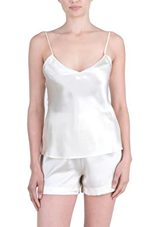 07b1f0c636 OSCAR ROSSA Women s Luxury Silk Sleepwear 100% Silk Camisole and Shorts  Lingerie Set Ivory