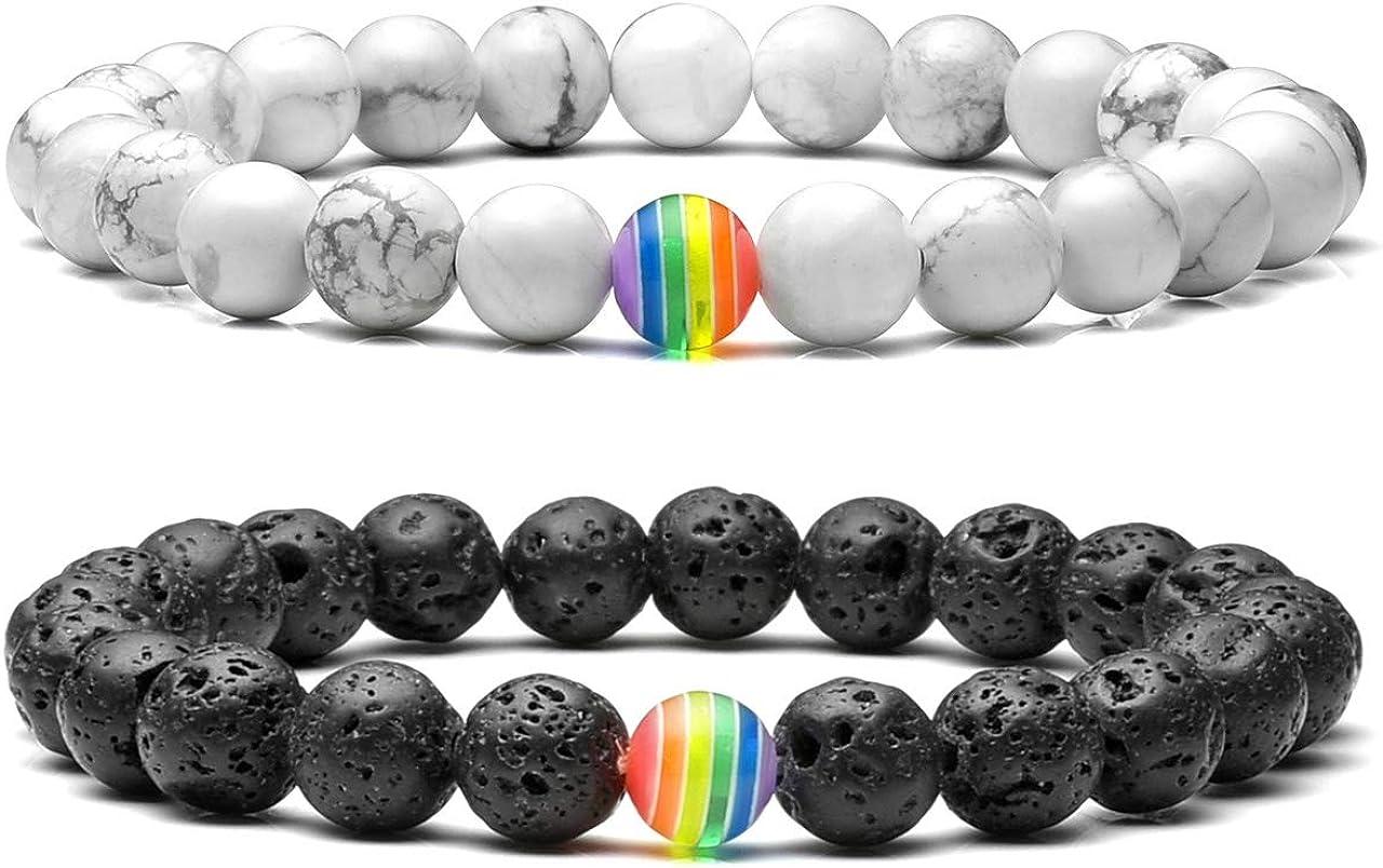 Jovivi LGBT Relationship Bracelet Rainbow Pride White Howlite/Black Lava Rock Beads Oil Diffuser Bracelets for Men Women
