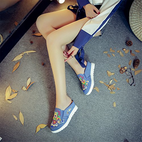 Qhome Women's Dragon Embroidery Ethnic Style Comfortable Casual Walking Canvas Flat Shoes Slippers