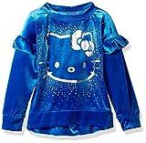 Hello Kitty Little Girls' Velvet Sweatshirt with Foil Artwork, Blue, 6X