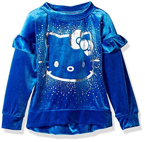 Hello Kitty Little Girls' Velvet Sweatshirt with Foil Artwork, Blue, 6X by Hello Kitty