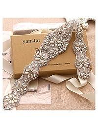 Yanstar Wedding Bridal Belt With Silver Rhinestone Ivory Ribbon Sashes For Wedding Gown