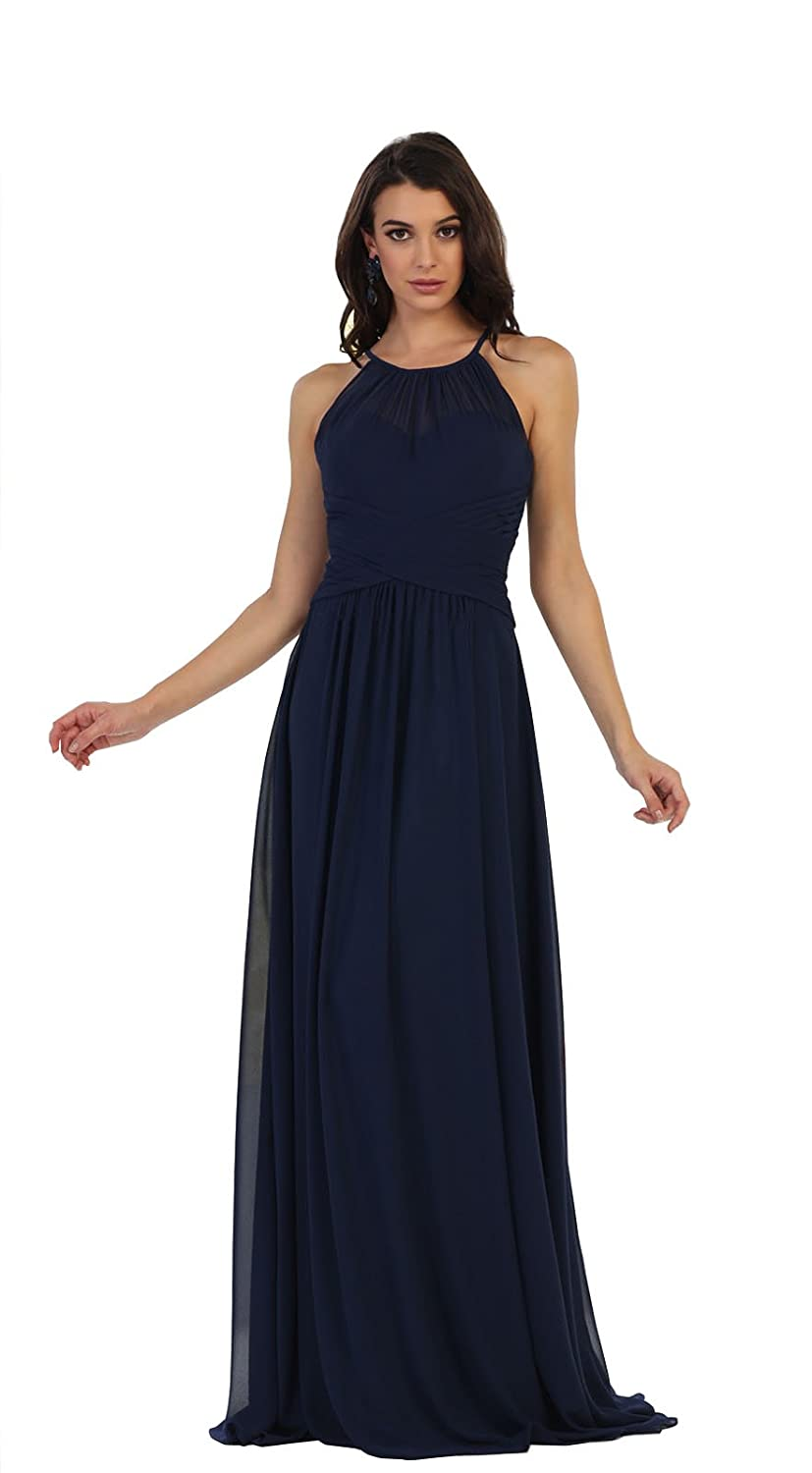 939354e1172 May Queen MQ1479 Simple Bridesmaids Evening Long Dress at Amazon Women s  Clothing store