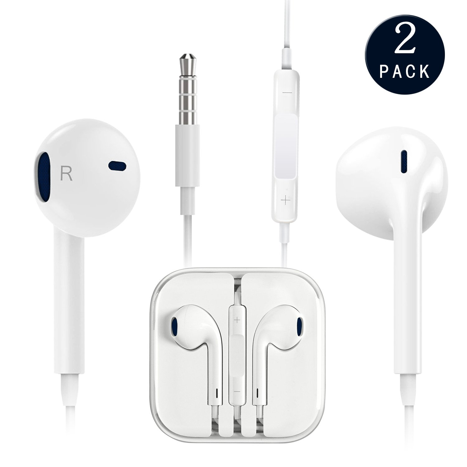 Cafetec - [2 Pack][White][Premium Earbuds][Stereo Headphones][Noise Isolating][Headset Made] - Earphones Microphone - (Model iPhone iPod iPad)