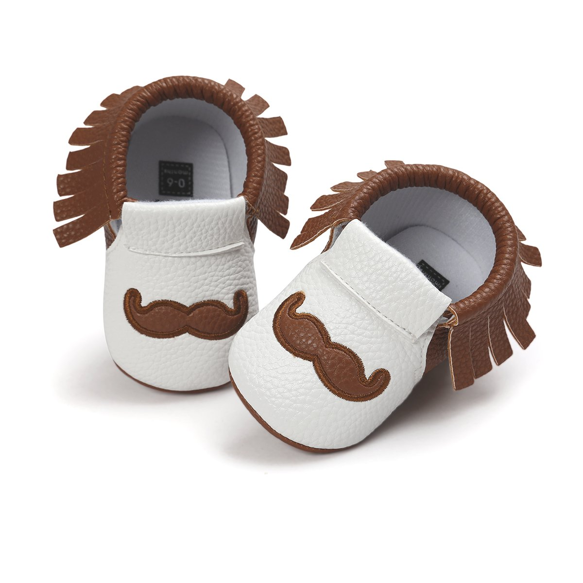 6666cd351f9cb Itaar Baby Moccasins PU Leather Soft Sole Tassel Crib Shoes with Cute  Mustache Print for Infant Toddler Boys Girls