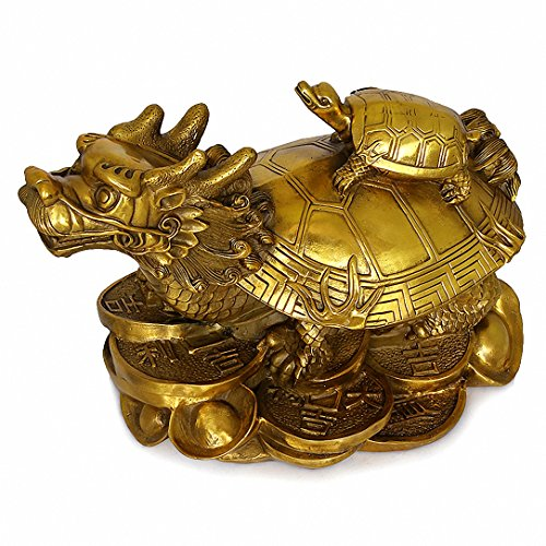 Wenmily Feng Shui Wealth Prosperity Brass Dragon Turtle Statue + Set of 10 Lucky Charm Ancient Coins on Red String,Best Housewarming Congratulatory Gift,Feng Shui Decor (Coin Gold Set Dragon)