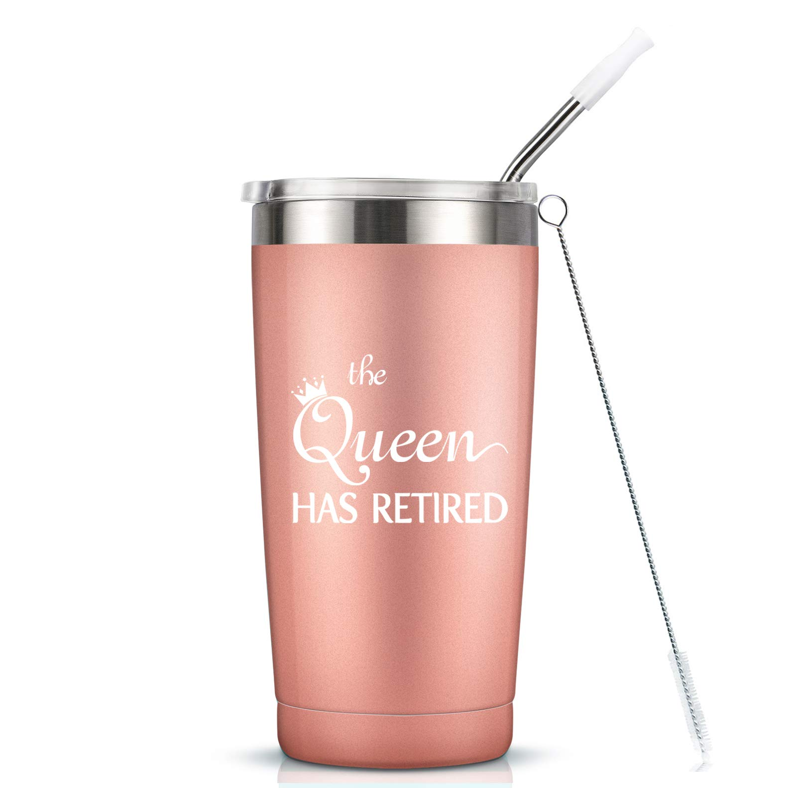 Retirement Gifts for Women Her Coworker - The Queen Has Retired Gift Cup - 20 Oz Insulated Stainless Steel Mug Tumbler with Lid for Mom Grandma Sister Friend Auntie by MASGALACC
