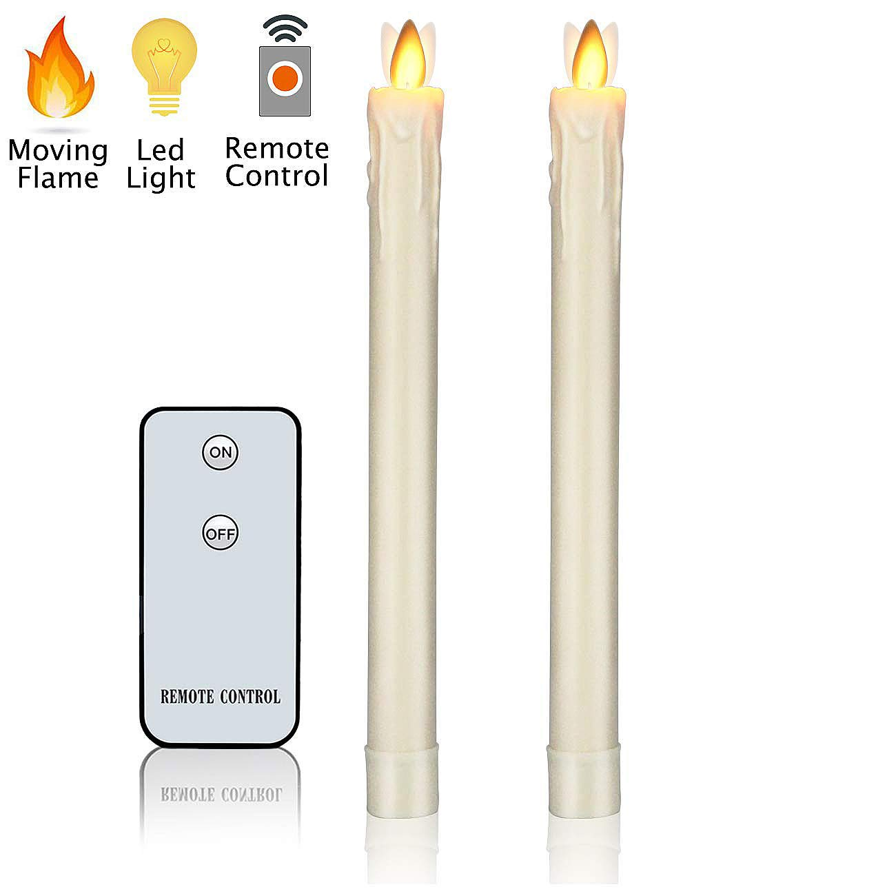 Flameless Candles, 9'' Battery Operated Candles Flickering Moving Wick Taper LED Dripless Real Wax Classic Pillar Candles with Remote Control for Home Wedding Party Bar, Pack of 2
