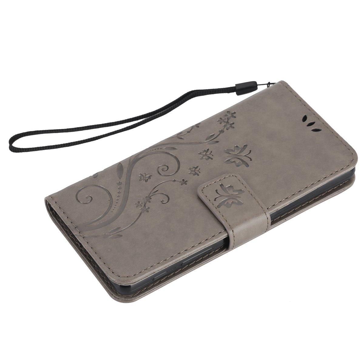 dise/ño de mariposa piel sint/ética plegable tipo cartera ikasus Sony Xperia X caso funda de piel tipo cartera con funci/ón atril tarjeta de Cr/édito ID soportes/ /Carcasa para Sony Xperia X