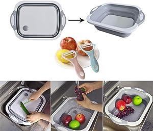 Aibeide Kitchen Multifunction Collapsible Cutting Board Dish Tub & 2 ceramic peelers,Drain Basket Vegetable Basin,Portable 3 In 1 Food Grade Silica gel Veggies Fruits Storage Basket (Grey)