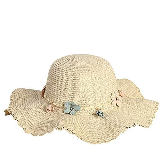 7a428660 iCJJL Women's Essential Summer Sun Hat, Wide Brim UV Protection Foldable  Roll Up Floppy Straw