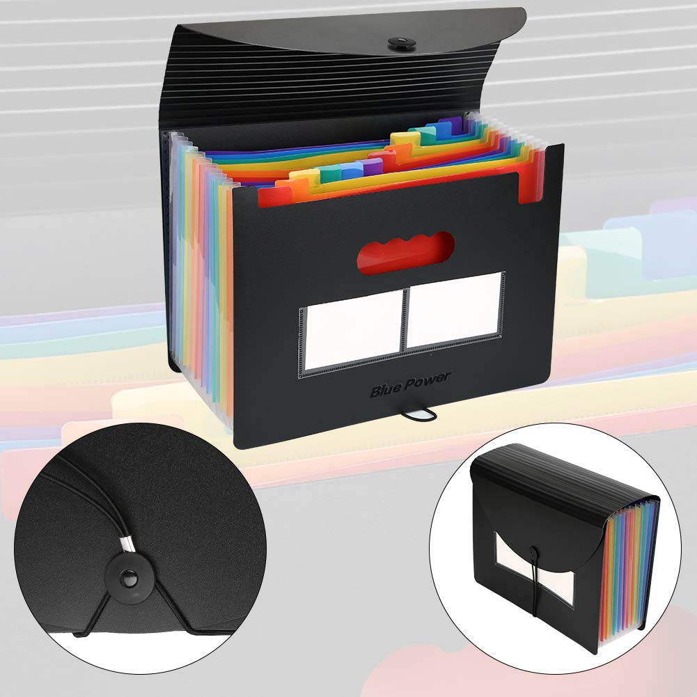 Suspension Files 35 Pocket Expanding File Folder Assorted Colours 40 Tabs Included A4 Accordian File Organiser Large Capacity Plastic Hanging File Folders for Filing Cabinets Pack of 5