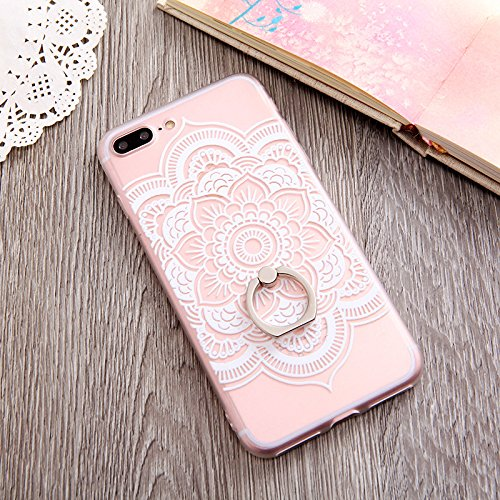 iPhone 7 Plus Case Finger Ring Stand - JAZ Ultra Thin Hard PC Back [ 3D Relief ]Silicone Case Cover With 360 Rotating Ring / Kickstand /Shockproof for iPhone 7 Plus / iPhone 8 Plus(Mandala) (Relief Flower)