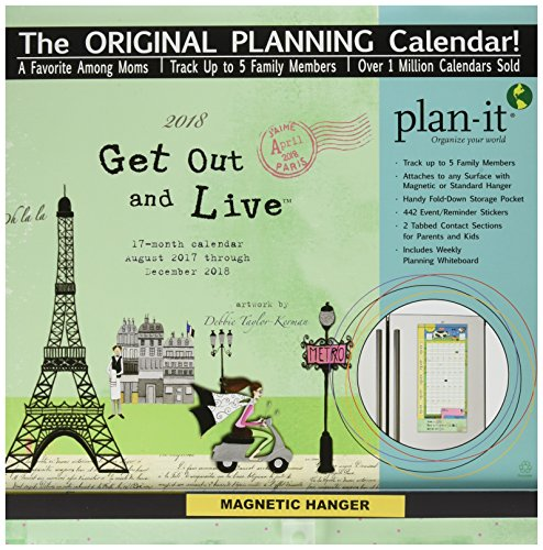 Wells Street by LANG - Get Out And Live, 2018 Plan-It Wall Calendar, Artwork by Debbie Taylor-Kerman - 17 Month (Aug. 2017 - Dec. 2018) - Pocket, Tab, Whiteboard - Open 12