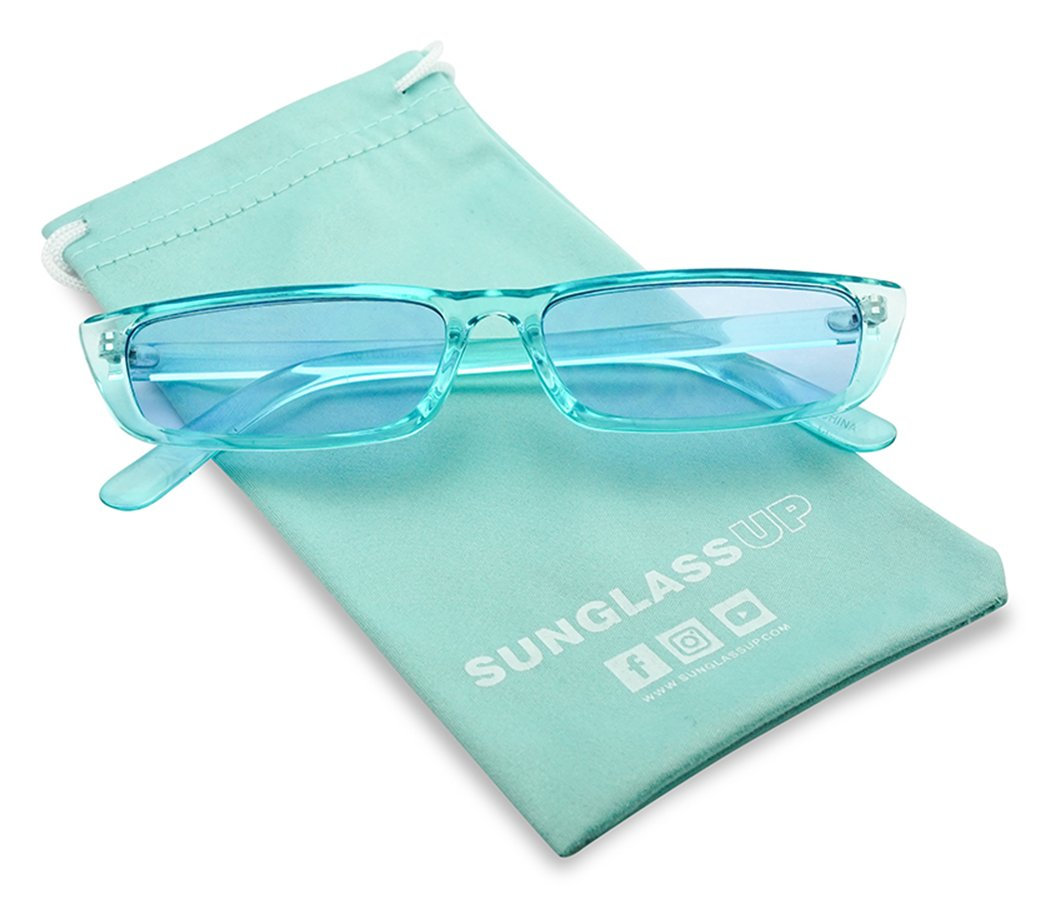 SunglassUP 90's Vibe Super Slim Rectangular Candy Colored Transparent Frame Sunglasses (Blue Frame, Blue) by SunglassUP