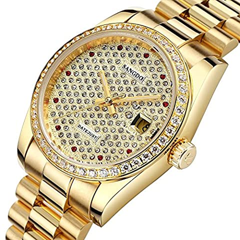 Mastop Elegant Luminous Mens Watch Gold Tone Stainless Steel Crystal Bezel Automatic Watch (Sangdo Automatic Watches)
