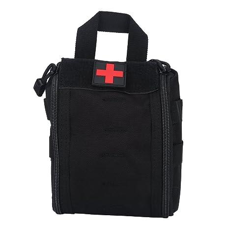 Botiqu/ín de primeros auxilios EMT Bolsa t/áctica compacta MOLLE Botiqu/ín m/édico 1000D para viajes en el lugar de trabajo al aire libre en el hogar negro