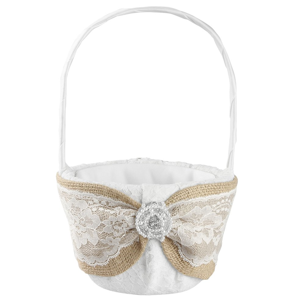 Ivy Lane Design Selina Collection Flower Girl Basket, 9.5-Inch by 6-Inch, White