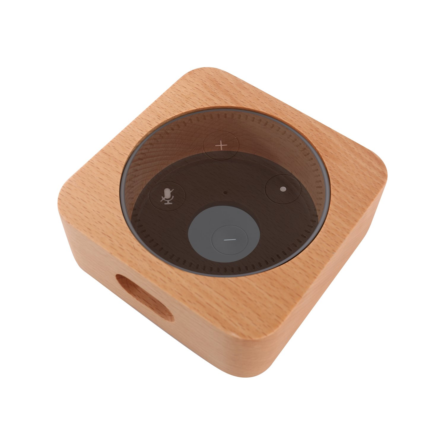 CamRom Natural Solid Wood Stand For Amazon Echo Dot【2nd Generation】, Solid Wood Speaker Holder Docking Station for Alexa, Protective Case Made from Beech Wood, Saving Space on Nightstand or Tables by CamRom (Image #1)