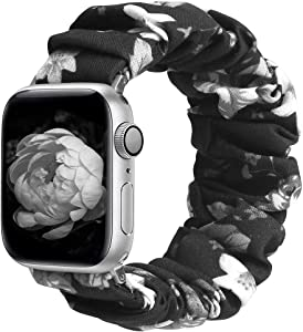 ALNBO Compatible with Apple Watch Band 38mm 40mm 42mm 44mm Soft Floral Fabric Elastic Scrunchies iWatch Bands for Apple Watch Series 6,SE,5,4,3,2,1 38mm/40mm Gray Flower S