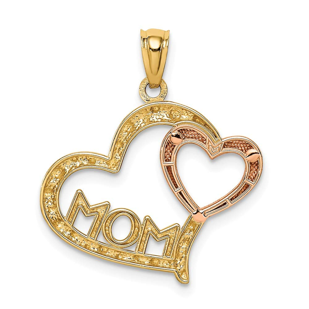 FB Jewels Solid 14K Yellow /& Rose W//Rhodium Dc Mom In Heart W//Heart Pendant