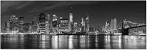 Wieco Art New York Manhattan Night View in Black and White Giclee Canvas Prints Modern Stretched and Framed Art Work Cityscape Pictures Paintings on Canvas Wall Art for Bedroom Home Decorations