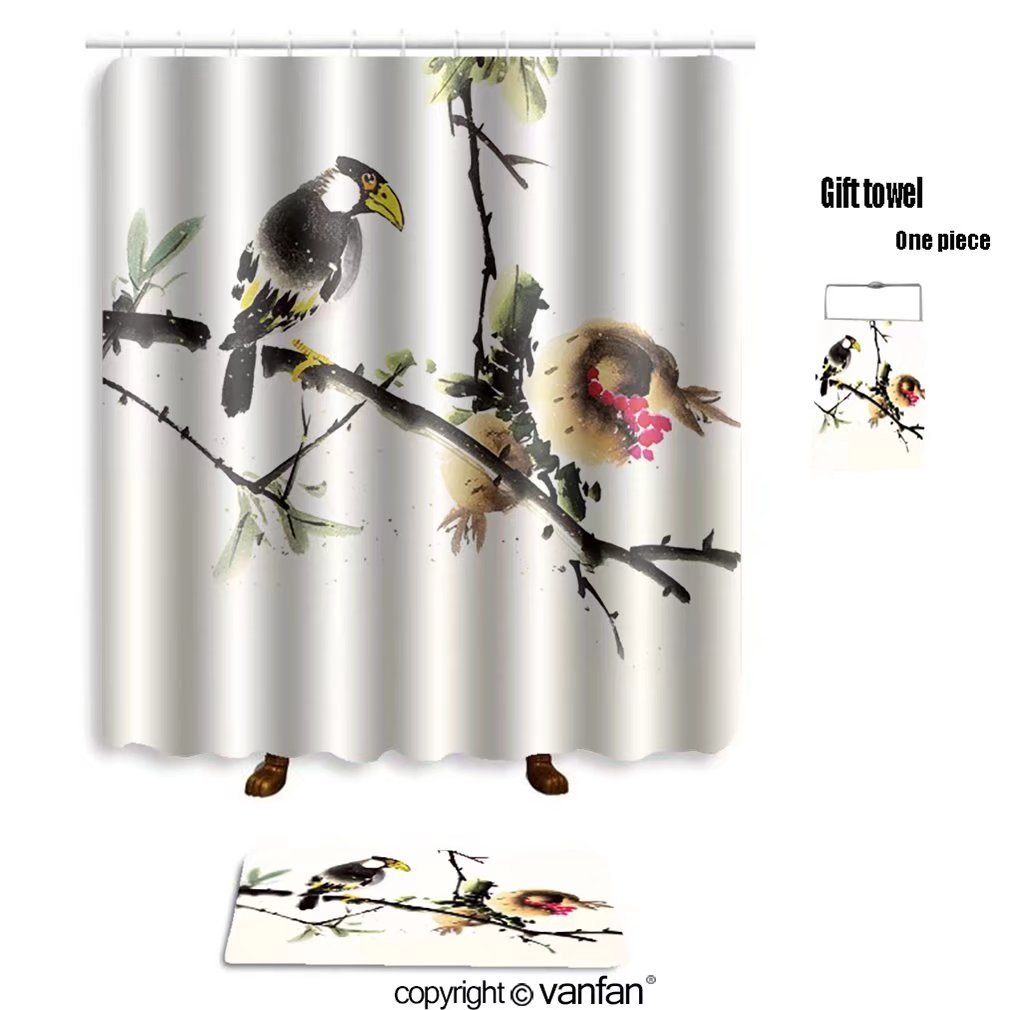 vanfan bath sets with Polyester rugs and shower curtain chinese ink painting bird and tree 411675724 shower curtains sets bathroom 72 x 96 inches&31.5 x 19.7 inches(Free 1 towel and 12 hooks)